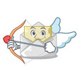 cupid opened and closed envelopes shaped cartoon vector image vector image