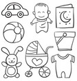 doodle bawith toy vector image vector image