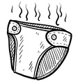 Doodle diaper smelly vector image