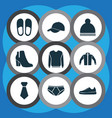 dress icons set with gumshoes jacket necktie and vector image vector image