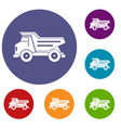 dump truck icons set vector image vector image