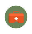 first aid kit box flat icon in green circle for vector image