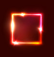 geometric neon light signage glowing square shape vector image vector image