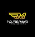 gold letter m winged elegant line modern logo vector image vector image