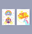 happy birthday postcards set vector image vector image