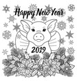 happy new year 2019 greeting card with pig vector image vector image
