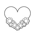 heart love with flowers vector image