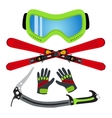 Ice sports set flat style - goggles ski gloves vector image