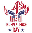 independence day 4 th july text greeting card vector image