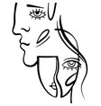 linear art man and woman vector image vector image