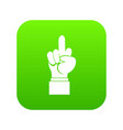 middle finger hand sign icon digital green vector image