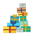 Pile of Colorful Wrapped Gift Boxes vector image vector image