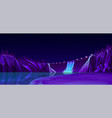 power dam with road lights beautiful nightscape vector image vector image
