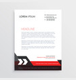 red black letterhead template design vector image vector image