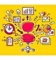 red office chair with documents and finan vector image