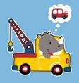 rhino tow truck driver cartoon vector image vector image