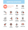 Service station - modern single line icons