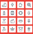 set of 16 gardening icons includes helianthus vector image vector image