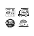 set of 4 creative emblems for food truck vector image vector image