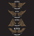 set of vintage emblem templates with wings design vector image
