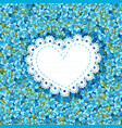 spring forget-me-not card in heart shape for vector image