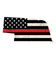 state nebraska firefighter support flag vector image vector image