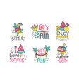 summer time logo design templates collection lets vector image vector image