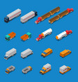 trucks isometric icons set vector image vector image