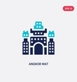 two color angkor wat icon from architecture and vector image