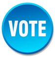 vote blue round flat isolated push button vector image vector image