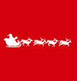 white silhouette of santa isolated on red vector image