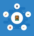 icons flat style life vest backpack mountains vector image