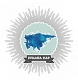 Eurasia map with vintage style star burst blue vector image