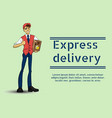 a young guy deliveryman vector image