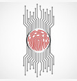 abstract sign fingerprint with circuit board vector image vector image