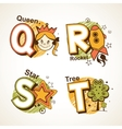 Alphabet set from Q to T vector image vector image