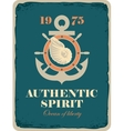 banner with an anchor helm and shell vector image vector image