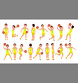 basketball male player yellow uniform vector image vector image
