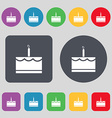Birthday cake icon sign A set of 12 colored vector image