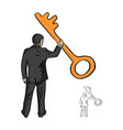 businessman holding big golden key with one hand vector image
