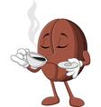 Cartoon funny Coffee bean drinking coffee vector image