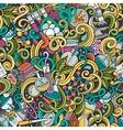 Cartoon hand-drawn science doodles seamless vector image vector image