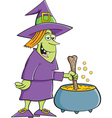 Cartoon Witch with Cauldron vector image