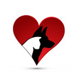 cat and dog silhouette inside love heart icon vector image vector image
