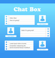 chat interface in blue color sms messages vector image vector image