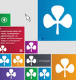 Clover icon sign buttons Modern interface website vector image