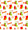 colorful christmas pattern with socks sweets and vector image