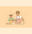 cooking together and spending time with children vector image