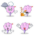 cotton candy character set with chef trumpet vector image vector image
