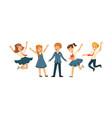 cute school students in uniform collection happy vector image vector image